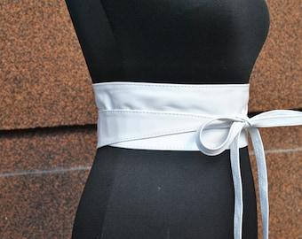 White leather obi belt