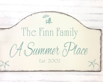Custom personalized beach house sign, lake house sign,  Mother's Day gift, vacation house getaway decor, Summer place, realtor housewarming