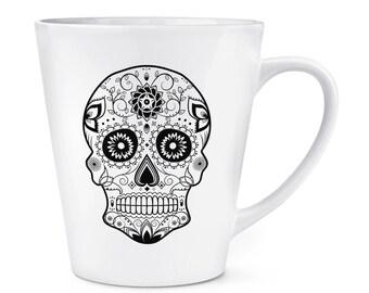 Black Sugar Skull 12oz Latte Mug Cup