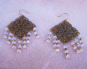 Crystal Chandelier Earrings - Gold Tone Filigree Chandeliers with Gorgeous Clear Rondelles by JewelryArtistry - E539