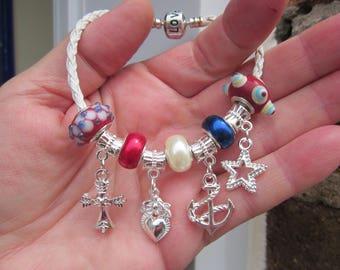 US MARINE NAVY theme lampwork, silver p. charm, Pearl beads european bracelet, stp 925