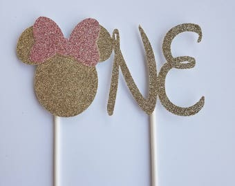 """Pink and Gold Minnie """"One"""" Cake Topper"""