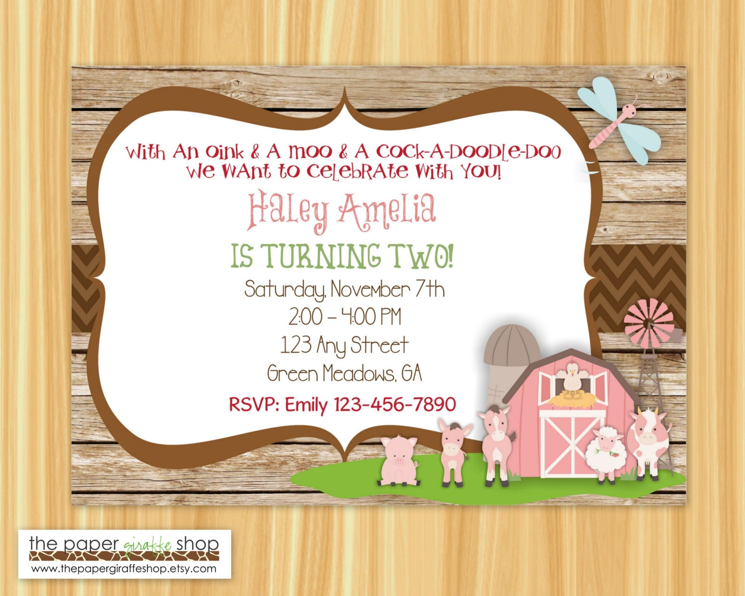 Farm Birthday Invitation Pink Farm Rustic Birthday Party