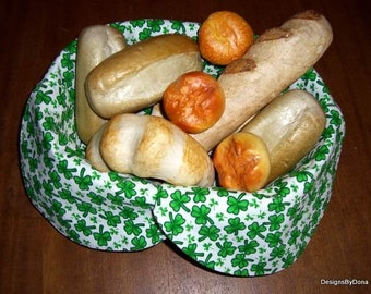 Basket Liner, Bread Cloth, Table Topper, Centerpiece, Small & Medium Size Green Shamrocks on White, Handmade Table Linens