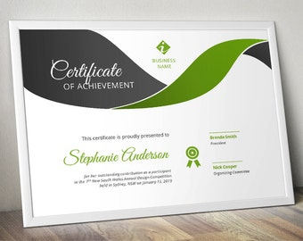 Modern curve corporate business certificate template for MS Word (docx)