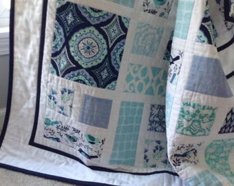 NEW!  Happy Birds Patchwork Baby Quilt in Blues and Aquas