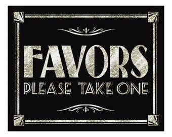 silver wedding FAVORS sign - Silver Deco Collection - Print as many as you need 4x6,5x7,8x10,11x14