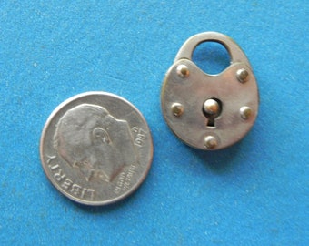 "Vintage Miniature Brass ""Trick"" Padlock. No Key Needed. Dog Collar lock. Old and Original."