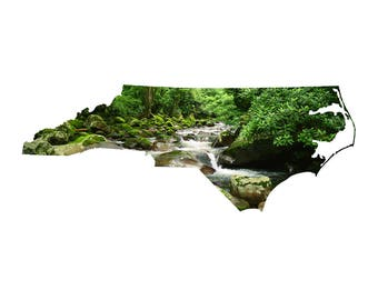 NC Shape - Mountain Stream - North Carolina, Great Smoky Mountains Photography Home Decor Fine Art Print or Note Cards