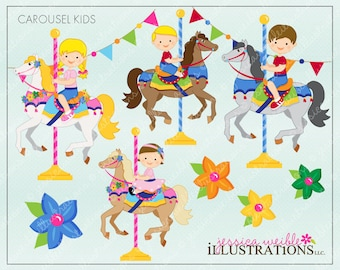 Carousel Kids Cute Digital Clipart for Invitations, Card Design, Scrapbooking, and Web Design, Carousel Clipart