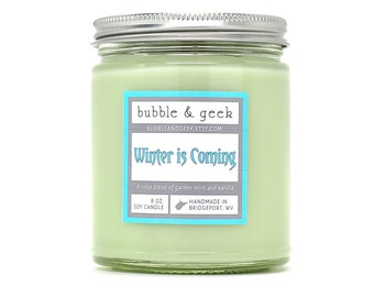 Winter is Coming Soy Candle Jar  - Garden Mint, Vanilla