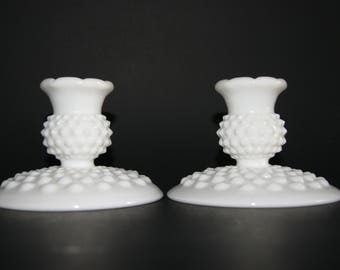 Vintage 1970s Fenton Milk Glass Hobnail Pattern Squat Candle Holders Or Candlesticks Pair Footed