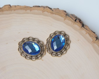 Oval Rhinestone Button Embellishment - Flatback Crystal - Blue - 3 pieces