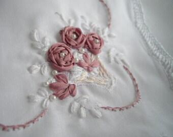 Featured At Martha Stewart Wedding Party Unique Handmade Keepsake Handkerchief Silk Ribbon Embroidery Hand Crocheted by handcraftusa Etsy
