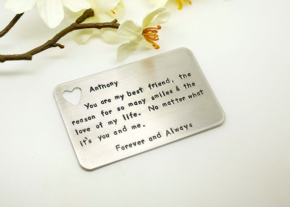 Aluminum wallet insert card customized personal messages
