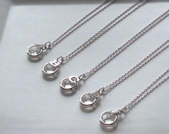 Silver Alphabet Glass Charm Necklace, bridesmaid necklace set, glass charm necklace, initial necklace, personalized bridesmaid necklaces