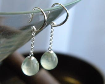 Mini Bulb Prehnite drop earrings, semi-precious stones, Gemstone Jewelry, Sterling Silver, Women's earrings, under 50, KarenWolfeCreations
