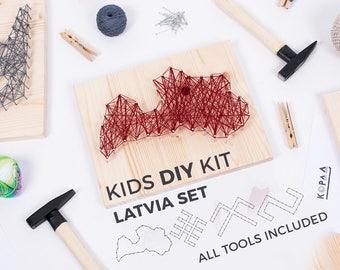 Kids DIY string art kit / LATVIA SET / educational toy / kids craft kit / kids toys / gifts for kids
