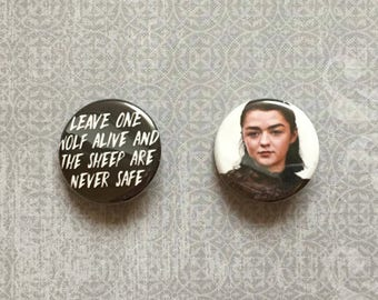 Arya Stark / Game of Thrones Pinback Buttons