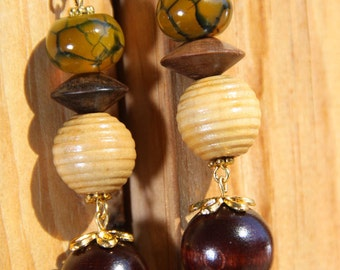 "3"" L Dragon Agate N Wood Dangle earrings"