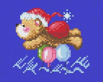 "SO-OP60 ""A flying Santa bear"" , sodastitch cross stitch pattern,PDF pattern chart"