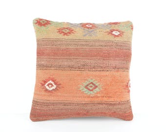 16x16 Vintage Kilim Pillow, Decorative Kilim Pillow, Turkish Kilim Pillow Case, Turkish Kilim Pillow, Kilim Cushion, 40x40 cm Kilim Pillow