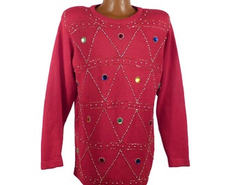 Gem Sweater Vintage 1980s Jeweled Red Ugly Christmas  Women's