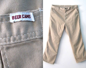 Vintage 70s Mens Khaki pants / Beer Cans Hipster tan brown pants / Boho Hippie 70s Mens jeans pants / 40 x 30