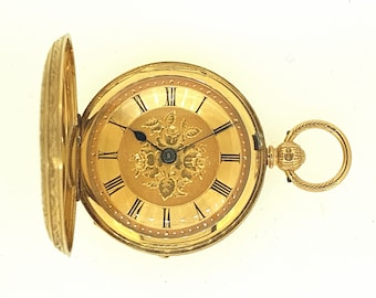 English made fusee pocket watch with 18ct gold case & dial c.1900. Fully restored
