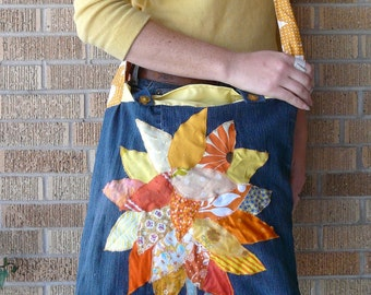 Upcycled Tote or Market Bag Sun Yellow Tree