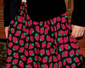 girls skirt  strawberries pink green and black age 5 to 6  years