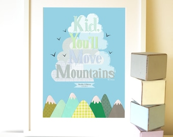 Kid You'll Move Mountains Print, Dr Seuss Print, Personalised children's print, New baby print, Nursery print, Nursery decor.