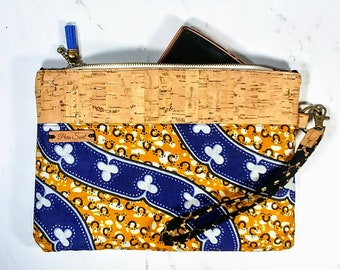 Cork Wristlet / African Bag / iPhone Purse / Clutch Bag / Wristlet / Cellphone Clutch / Mothers Day Gift / Gift for Her / Wakanda / Tribal
