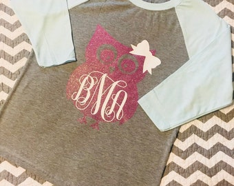 Kids-Owl Monogram Raglan Tee-Owls-Personalized-Monogram-Baseball Style Shirt-Baseball Style Tee-Owl With a Bow and Monogram