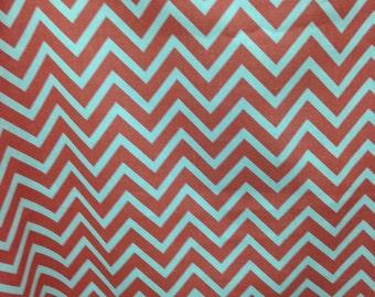 """Coral Chevron - Zig Zag - Pillow Cover 18"""""""
