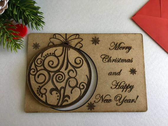 Merry Christmas Wooden Cards Personalised Engraved Cards Christmas Family Ornament Handmade Xmas Cards Personalised baubles Holiday ornament