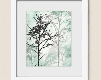 Mint Green Room Decor 8 x 10 Print, Tree Art for Wall Decor, Bedroom Wall Art Tree Print, Mint Wall Art, Seafoam Green Art (441)