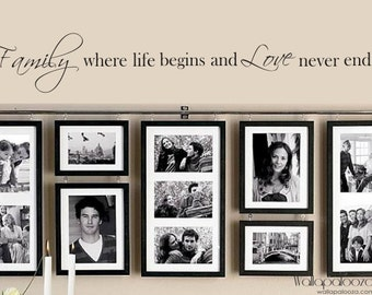 Family Wall Decal - Family where Life begins and Love never Ends - Family Wall Cling - Home Decor - Love - Wallapalooza Wall Decals
