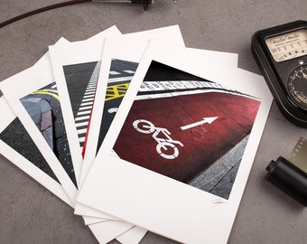 """Photo Note Card Set - 5""""x7"""" - Road Signs II. Urban photography, bicycle, bike path, motorcycle, red, yellow details."""