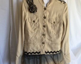 Cream Colored Soft Cotton Jacket with Deconstructed Tie Embellishments, Size M