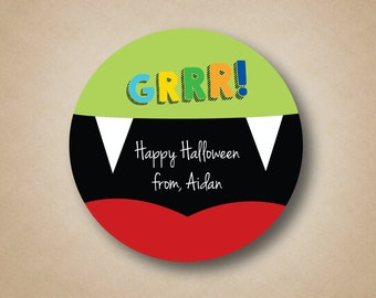 Halloween Labels Custom Vampire Teeth Favor Stickers Round Halloween Party Labels Halloween Treat Labels Happy Halloween Favor Tags Green