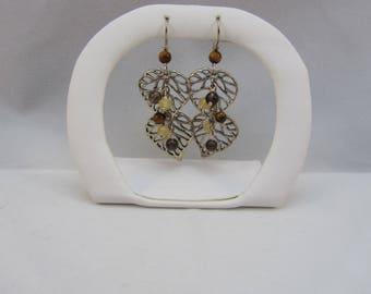 Sterling Silver Leaf Design Dangle Drop Earrings Tiger's Eye Beads