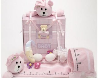 Pink Bear Baby Book and Growth Chart Gift