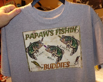 PAWPAW'S FISHING BUDDIES Personalized Fishing T Shirt Kid's Names Added Free! Perfect Gift for the Fisherman on your List! All Sizes S-3X
