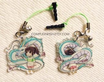 Reversible spirited away charm - Chihiro and Haku