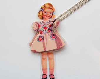 Carly Paper Doll Laminated Necklace