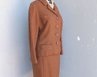 Vintage Suit, 1950s, Brown Wool Jacket & Skirt, Professional, Career, Academia, Secretary, Two Piece wool Suit, Winter Fashion