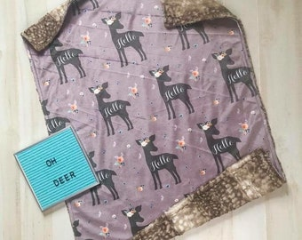READY TO SHIP - Deer baby blanket - minky blanket