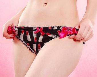 Lipsticks & Lace Ruffle-Bum Bikini Panty - Pick Your Size - Handmade Vegan Bridal