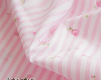 Cotton Fabric Pink Stripe With Pink Rose Cotton Fabric, Shabby Chic Fabric For Quilting- 1/2 yard